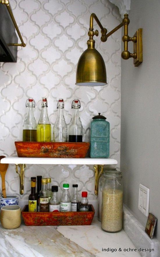 Brass swing arm wall sconce as lighting in kitchen desiretoinspire.net