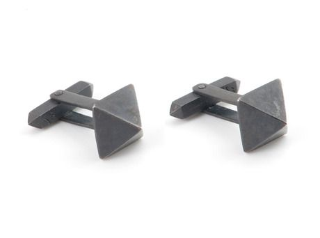 'Pyramid cufflinks' by Emma Jane Donald  Oxidised sterling silver  Available in store and online  http://egetal.com.au/store/product/EJJ112