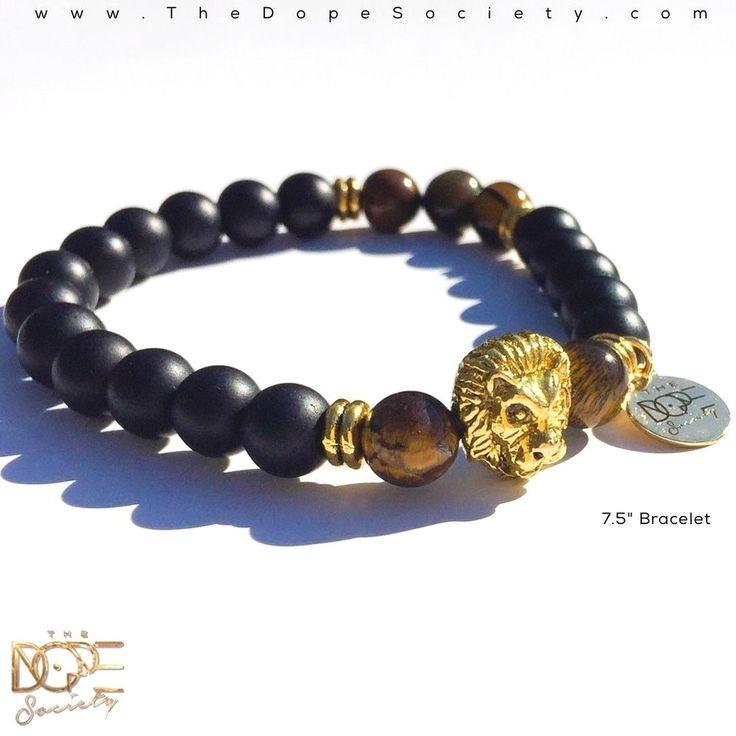 Black Matte Onyx Bead Bracelet, Tiger Eye Bead Bracelet, Gold Lion Head Bracelet #Handmade #BeadedBracelet #BeadBracelet #MensBeadBracelet #WristWear #ArtesianJewelry #MensFashion  #Beaded