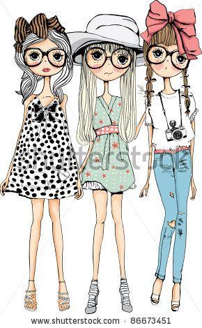 fashion sweet girls - stock vector