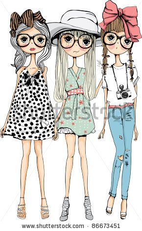 fashion sweet girls - stock vector