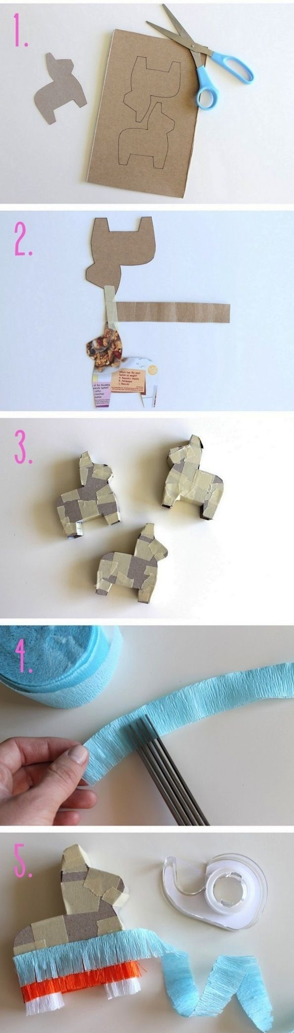 Cinco de Mayo: DIY Mini Piñatas out of a medium sized cereal box - cute and fun!