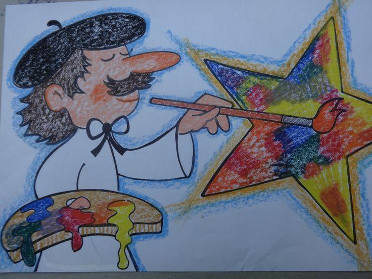 """""""Teken je een ster voor me?""""  En de kunstenaar tekende een ster, het was een schitterende ster. (losse prenten logisch rangschikken bij het boek : """" teken je een ster voor me?"""""""