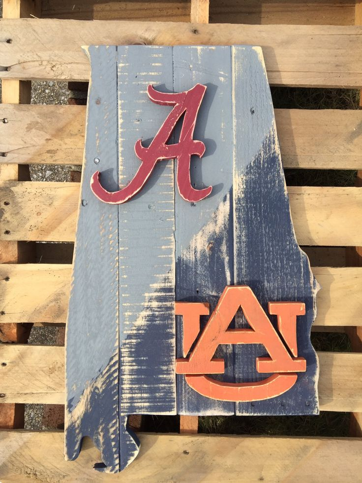 House Divided State of Alabama wood pallet sign, Alabama on top and Auburn on the lower half by TheStateSign on Etsy