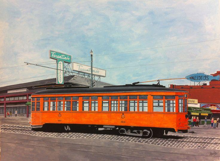 Old timer tram car standing outside Tarantino's restaurant down at Fisherman's Wharf, San Francisco