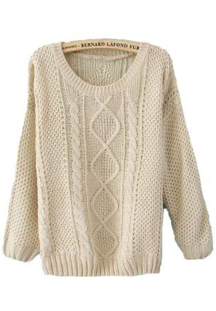 Beige Round Neck Broken Stripe Cable Sweater 8b0b4578a