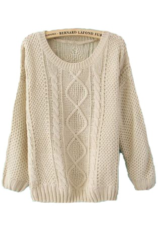 Beige Round Neck Broken Stripe Cable Sweater - this site has great