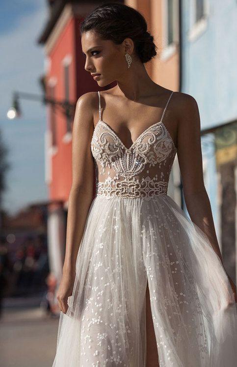 2018 White Beach Wedding Dresses Side Split Spaghetti Illusion Sexy Boho Wedding Gowns Sweep Train Pearls Backless Bohemian Bride