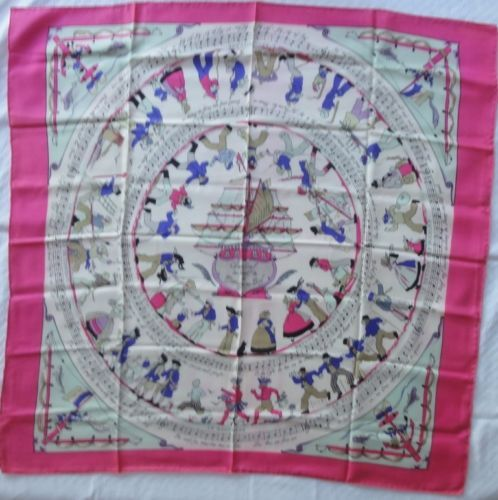 """Hermès CHANSONS DE LA MARINE EN BOIS scarf authentic silk twill 35"""" Grygkar 1948"""