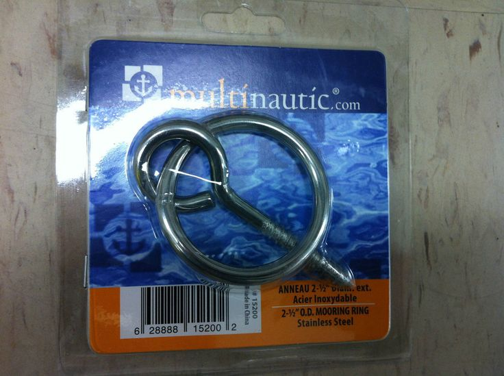 Multinautic DOCK MOORING RING 15200 STAINLESS STEEL WITH LAG SCREW 2-1/2  O/D