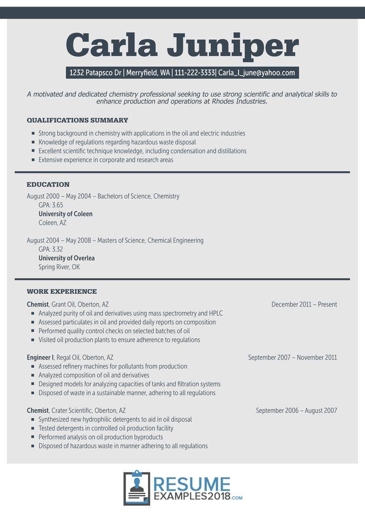 New 2018 Resume format, Chronological resume template