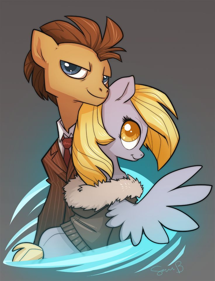 Dr. Whooves and Derpy as Ten and Rose. :D..... I know it's supposed to be 10 and Rose, but doesn't it look like Misha Collins?!
