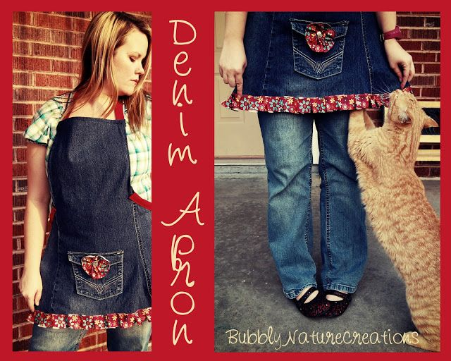Project Party Weekend: 5 Ways to Re-purpose Jeans #2 Denim Apron - Bubbly Nature Creations