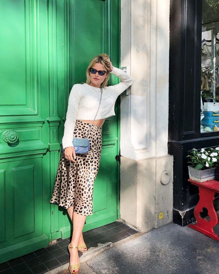 Summer Outfits Outfit Ideas Silk Midi Skirt Cropped White Sweater Street Style Fashion Best OOTD Inspo