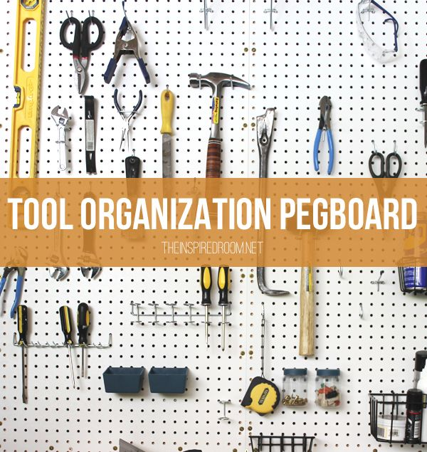 DIY Tool Organization Pegboard, perfect for a craft space or man cave