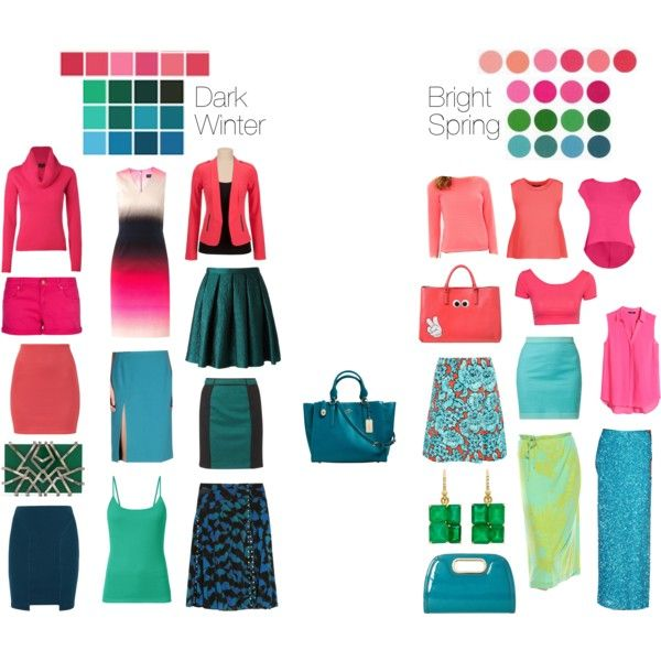 """""""Dark Winter vs Bright Spring - Coral, Pink, and Turquoise"""" by thewildpapillon  Bright Spring's wears light and warm tangerines, palest aquas and yellow greens, very naturally.  Those colors are not particularly flattering on Dark Winter."""