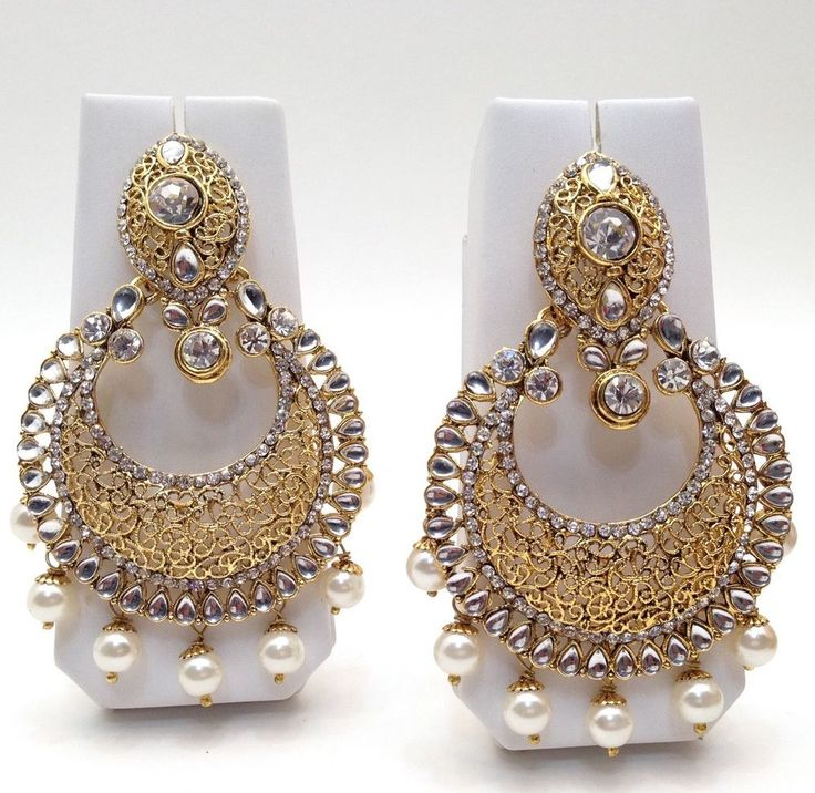 "Indian Asian Bridal Jewellery Bollywood Ethnic Wear Large Earrings Length:3.6"" in Jewellery & Watches, Ethnic & Tribal Jewellery, Asian 
