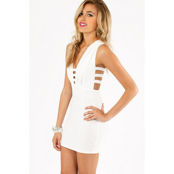Tobi Makayla Bodycon Dress ($26) ❤ liked on Polyvore featuring dresses, robes, vestidos, ivory, sleeveless bodycon dress, ivory dress, low cut bodycon dress, tobi dresses and body con dress