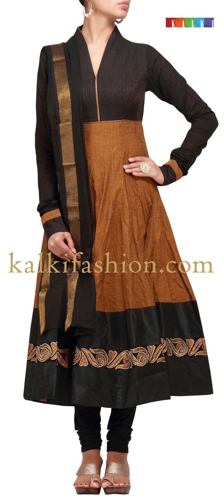 Buy it now  http://www.kalkifashion.com/anarkali-suit-in-brown-with-zari-work.html  Anarkali suit in brown with zari work