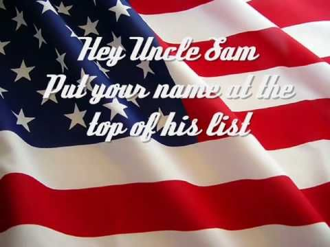 """""""Courtesy of the Red, White and Blue""""  I LOVE THIS SONG. :)  """"This big dog will fight when you rattle his cage. And you'll be sorry that you messed with the U.S. of A."""""""
