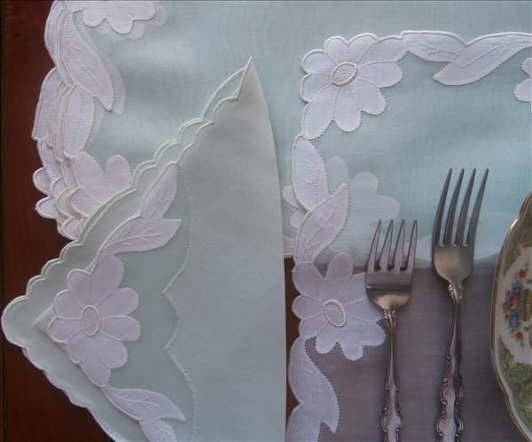 Aqua Madeira Placemats Napkins Organdy Linen Vintage Set Unused