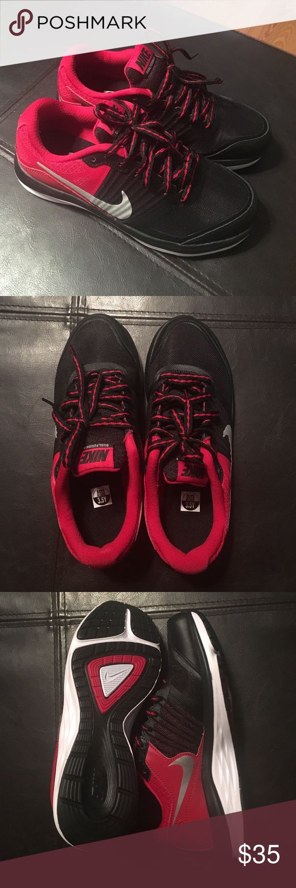 Youth Boys Nike Dual Fusion X shoes Youth Boys Red, Black & silver Nike tennis shoes.. brand new in perfect condition. Nike Shoes Sneakers