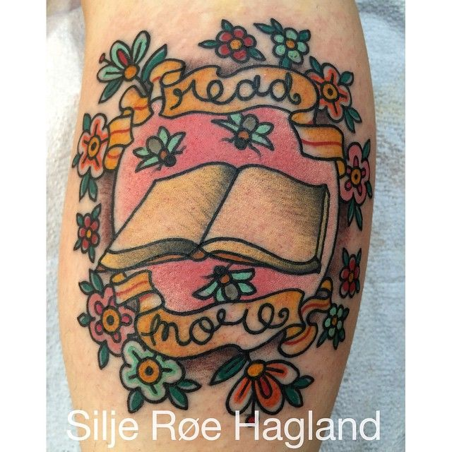 """Read More"" traditional book tattoo, Silje Roe Hagland."