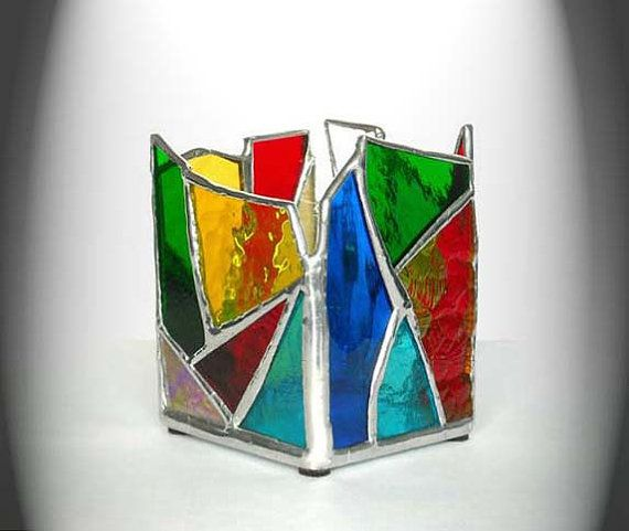 Multi-Colored Stained Glass Candle Holder by AfricanSand on Etsy