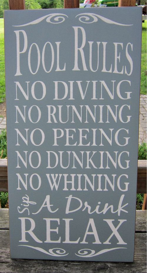 Pool Rules Large Wood Typography Sign