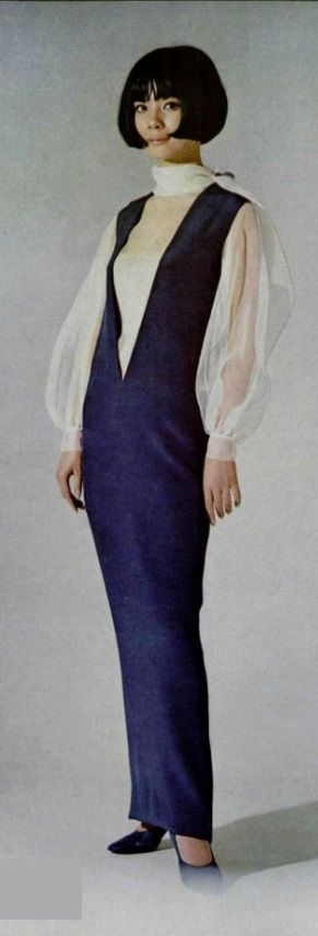 Pierre Cardin, 1964. Looks like the narrow skirts in the 1910's. I wonder if you could really get around in a dress like this.