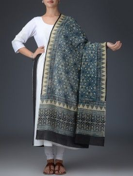 Indigo-Cream-Black Ajrakh Printed Chanderi Dupatta