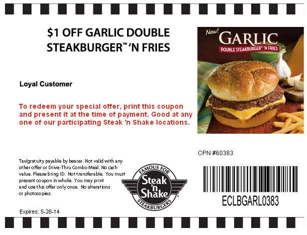 Pinned May 18th: Shave a buck off your steakburger & fries at #Steak n Shake #coupon via The #Coupons App