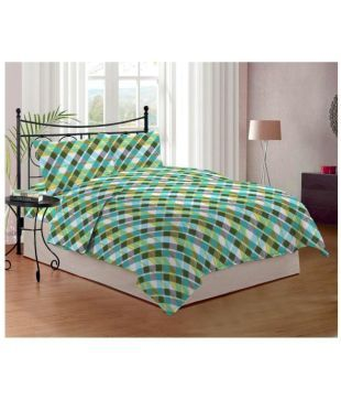 Bombay Dyeing Double Poly Cotton Green Bed Sheet - Buy Bombay Dyeing Double Poly Cotton Green Bed Sheet Online at Low Price - Snapdeal