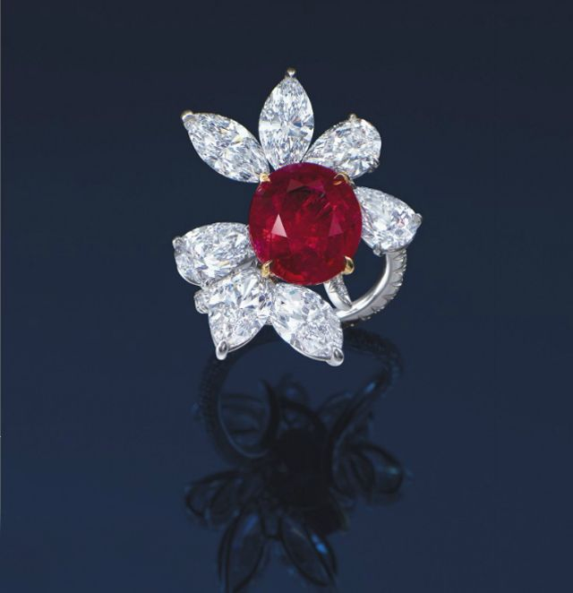 Ruby and diamond ring by James W. Currens with an 8.88-carat unheated Burmese ruby. Estimate: $2.3-3.6 million. Christie's Hong Kong.
