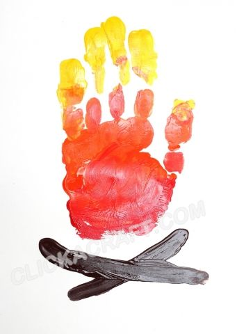 Handprint Camp Fire - Click on image to see step-by-step tutorial.