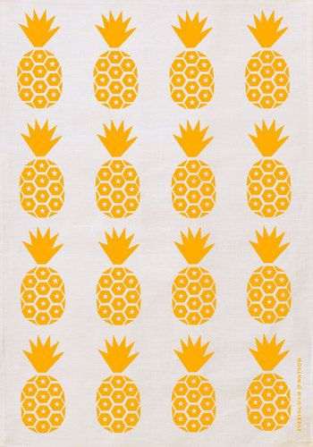 Pineapple Print Tea Towel