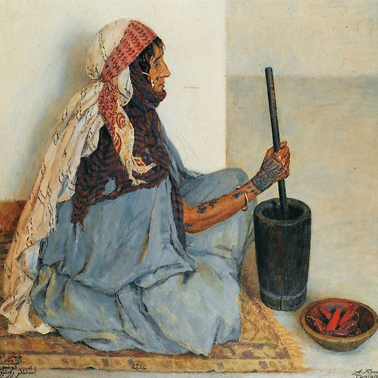 ALEXANDRE ROUBTZOFF ; ALIA SITTING AND GRINDING VEGETABLES