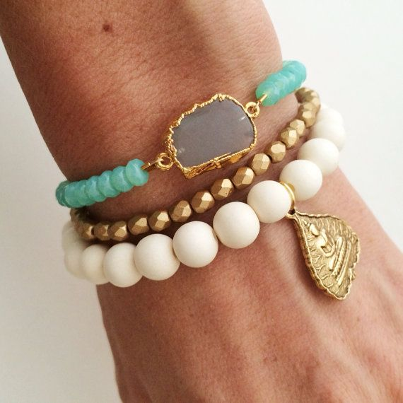Oceanic Stone Bracelet Gray Moonstone Slice and Aqua by dAnn