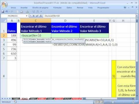 ▶ Excel Facil Truco #66: Encontrar el Ultimo Valor de una Lista - YouTube libro de trabajo: http://www.excelfacil123.com.ar/ Como encontrar el ultimo valor de una lista usando tres formulas diferentes: Veras las Funciones BUSCAR, BUSCARV, DESREF, MAX y COINCIDIR. Twitter: http://twitter.com/ExcelFacil123 Facebook: https://www.facebook.com/pages/Excel-F%C3%A1cil/370567826406025 Excelisfun: http://www.youtube.com/user/ExcelIsFun?feature=watch