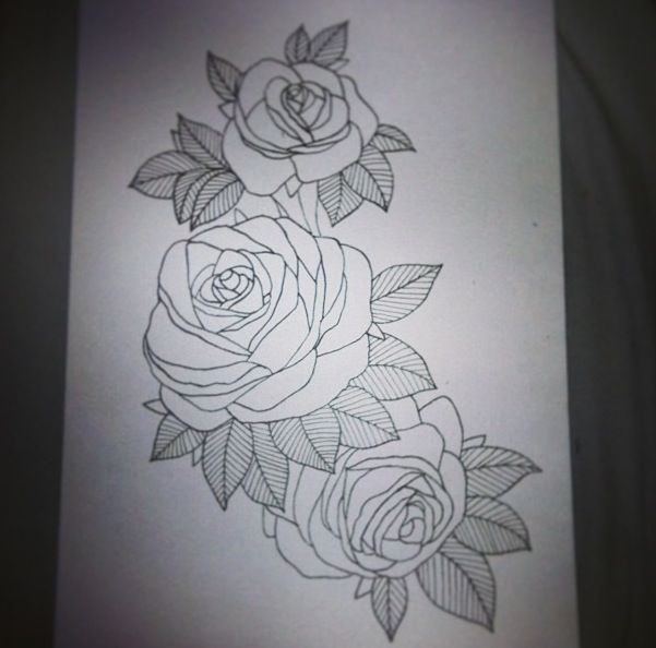 roses design i drew for a thigh ink