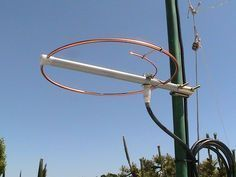 """A closer view of the 144 MHz halo antenna. The entire antenna was weatherproofed with clear acrylic spray paint. The open ends of the boom and the PL-259 connector were sealed with a self sealing silicone tape called Rescue Tape. Both open ends of the copper loop were outside the boom with approximately 1.5"""" gap distance for resonance at 145 MHz."""