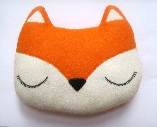 Fox Pillow Woodland Plush Felt Stuffed By