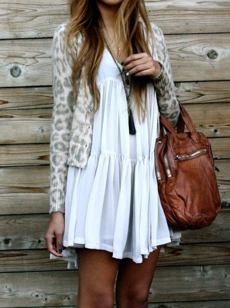 { cute }: Summer Dresses, Style, Leopards Cardigans, Outfit, Leopards Prints, Animal Prints, White Dresses, The Dresses, The Cardigans