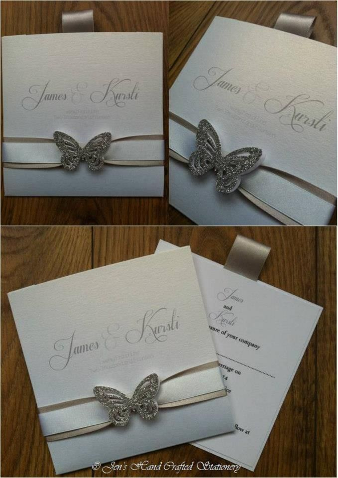 Silver glitter butterfly wallet Wedding invitation  www.jenshandcraftedstationery.co.uk www.facebook.com/jenshandcraftedstationery