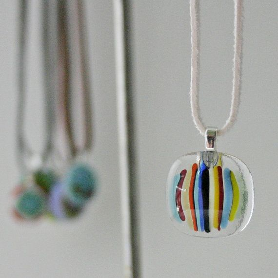 Multi Colour Stripes on Clear Glass  Small Fused by PamelaAngus, €13.00
