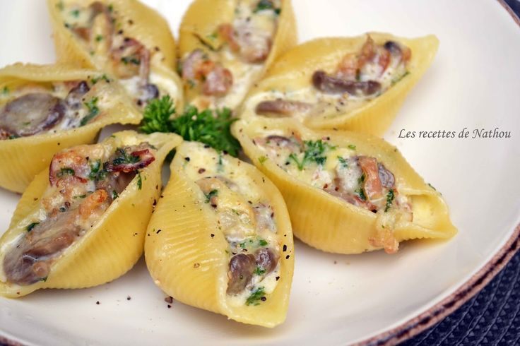 Les recettes de Nathou: Conchiglioni farcis au lard, champignons et Reblochon