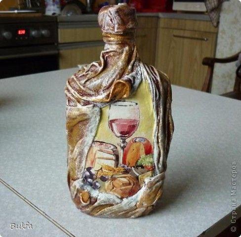 Декор предметов День рождения Декупаж А это не бутылка а бутылек Бутылки стеклянные Салфетки Ткань фото 1