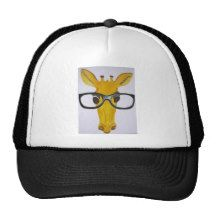 Yellow Giraffe Wearing Black Glasses Trucker Hat