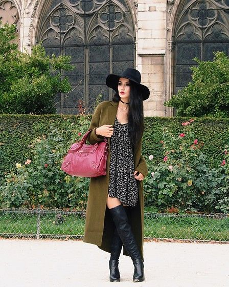 Get this look: http://lb.nu/look/8567635  More looks by Narjisse Ammor: http://lb.nu/narjisseammor  Items in this look:  Rag & Bone Felt Hat, Zara Choker, Sandro Long Coat, Balenciaga Bag, Ralph Lauren Dress, Kurt Geiger High Knee   #look #looks #outfit #ootd #outfits #lookoftheday #outfitoftheday #longcoat #khaki