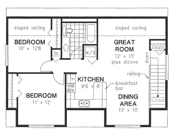 27 best garage apartment floor plans images on pinterest for Narrow apartment plans